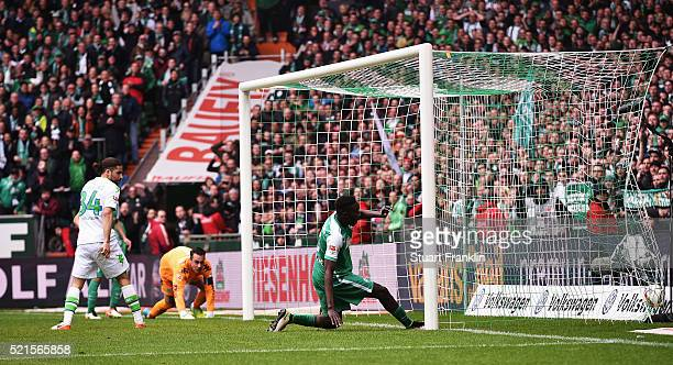 Sambou Yatabaré of Bremen scores his goal during the Bundesliga match between Werder Bremen and VfL Wolfsburg at Weserstadion on April 16 2016 in...