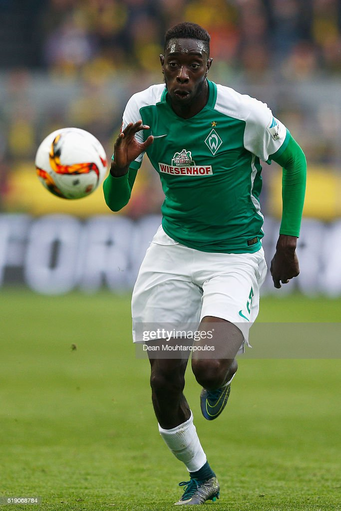 <a gi-track='captionPersonalityLinkClicked' href=/galleries/search?phrase=Sambou+Yatabare&family=editorial&specificpeople=5747366 ng-click='$event.stopPropagation()'>Sambou Yatabare</a> of Werder Bremen in action during the Bundesliga match between Borussia Dortmund and Werder Bremen at Signal Iduna Park on April 2, 2016 in Dortmund, Germany.