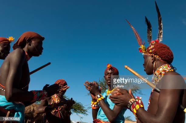 Samburu Tribesmen Traditional Dance, Loisaba Wilderness Conservancy, Laikipia, Kenya