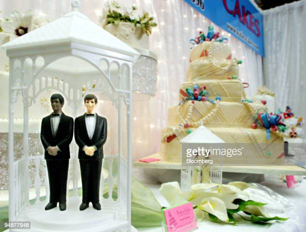 Same sex cake toppers are displayed at the first National Gay and Lesbian Wedding Show in Toronto Ontario Canada on Sunday February 29 2004 Samesex...