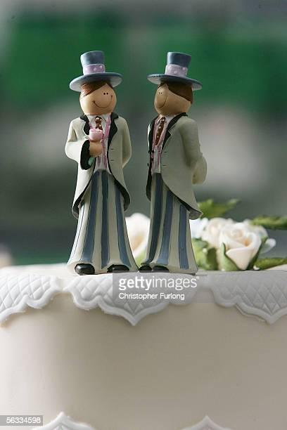 Same sex statues adorn the top of a wedding cake at a wedding specialists store on December 5 Birmingham England The Civil Partnership Act came into...