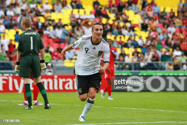 Samed Yesil of Germany celebrate a scored goal during the FIFA U17 World Cup Mexico 2011 Quarter Final match between Germany and England at the...