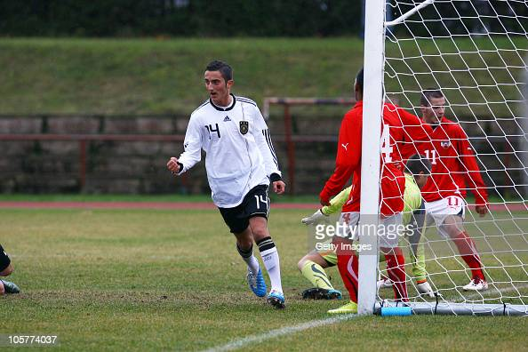 Samed Yesil of Germany celebrates after scoring a goal during the U17 Euro Qualifier match between Austria and Germany at the Kuusalu Stadium on...