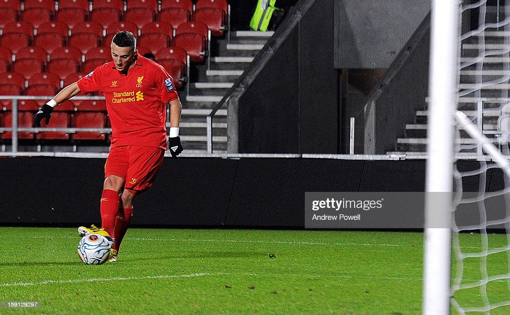 Samed Yesil of Liverpool scores the second goal for his team during the NextGen Series Group 5 match between Liverpool U19 and Inter Milan U19 at Langtree Park on January 8, 2013 in St Helens, England.