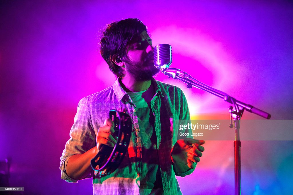 Sameer Gadhi of Young The Giant performs at the Majestic Theater on February 28, 2012 in Detroit City.