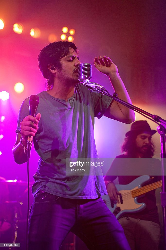 Sameer Gadhia and Payam Doostzadeh of Young the Giant perform at Stubb's Bar-B-Q on March 25, 2012 in Austin, Texas.