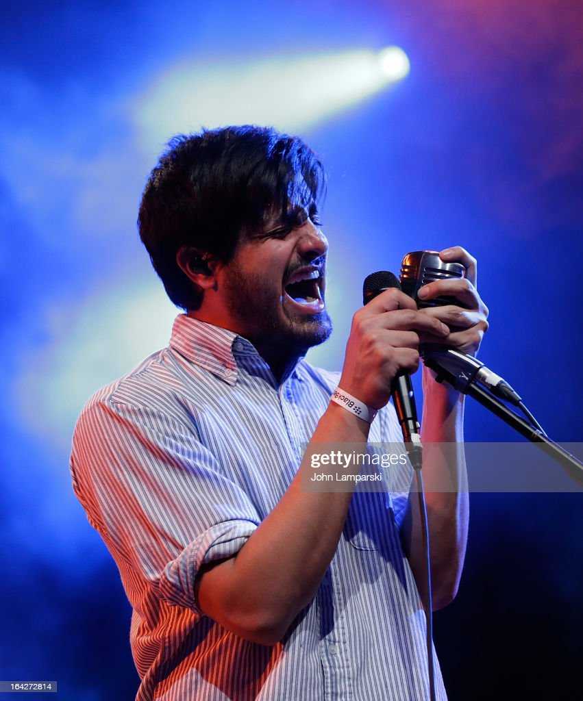 Sameer Gadhia of Young the Giant performs at the BlackBerry Z10 Launch Event at Best Buy Theater on March 21, 2013 in New York City.