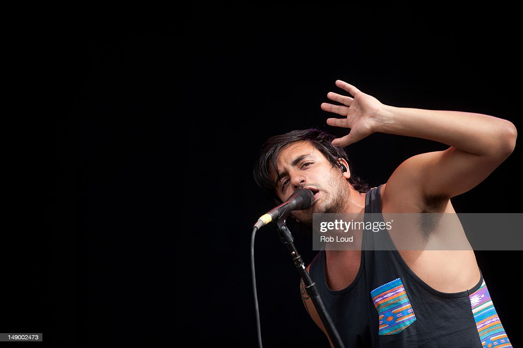 Sameer Gadhia of Young the Giant performs during the 2012 Firefly Music Festival at The Woodlands on July 21, 2012 in Dover, Delaware.