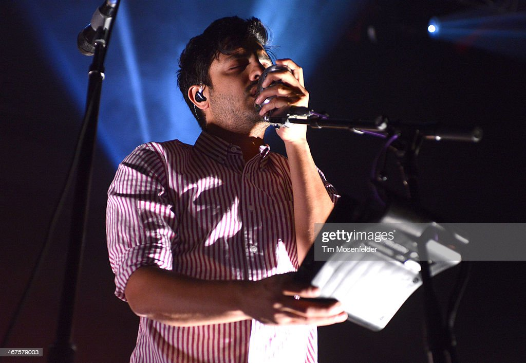 Sameer Gadhia of Young the Giant performs in support of the bands' 'Mind Over Matter' release at The Fox Theatre on February 6 2014 in Oakland...
