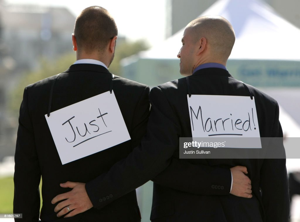 Samesex couple Ariel Owens and his spouse Joseph Barham walk arm in arm after they were married at San Francisco City Hall June 17 2008 in San...