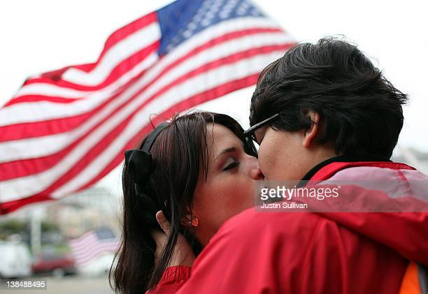 Samesex couple Breana Hansen and Monica Chacon kiss as they celebrate outside of San Francisco City Hall on February 7 2012 in San Francisco...