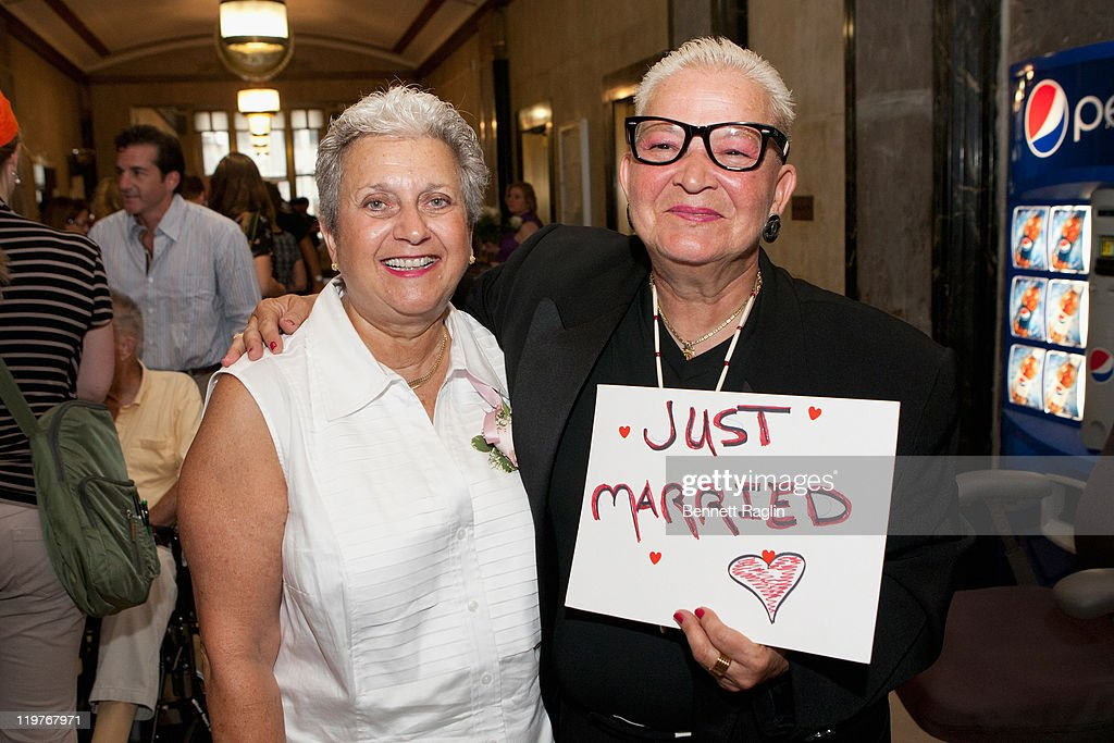 Same-Sex couple Carol Barnett and Nanette Gonnella of New York wed after 37 years together during the first day of legal same-sex marriage in New York State on July 24, 2011 in New York City.
