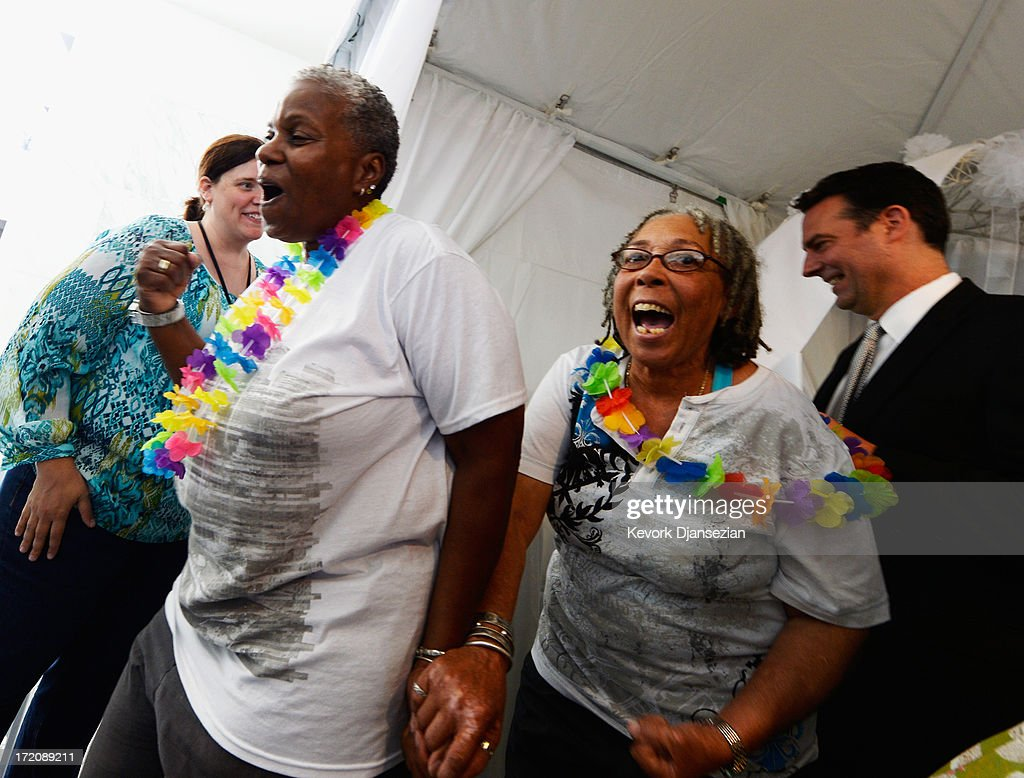 Same-sex couple forfor 32 years Wanda Lawson,63, (L) and Lauryne Braithwaite, 65 react after they were married at a wedding ceremony on July 1, 2013 in West Hollywood, California. The U.S. Ninth Circuit Court of Appeals lifted California's ban on same-sex marriages just three days after the Supreme Court ruled that supporters of the ban, Proposition 8, could not defend it before the high court. California Gov. Jerry Brown ordered all counties in the state to begin issuing licenses immediately.