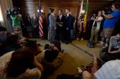 Samesex couple Jeff Zarillo and Paul Katami are married at Los Angeles City Hall by Los Angeles Mayor Antonio Villaraigosa on June 28 2013 in Los...
