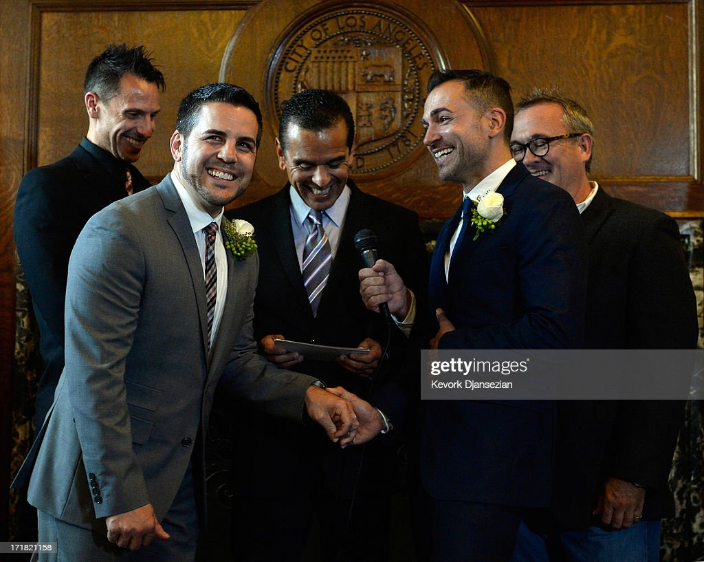 Same-sex couple Jeff Zarillo (2nd L) and Paul Katami (2nd R) are married at Los Angeles City Hall by Los Angeles Mayor Antonio Villaraigosa (C) as witnesses Devin Swanson (L) and Scott James look on, on June 28, 2013 in Los Angeles, California. The U.S. Ninth Circuit Court of Appeals lifted California's ban on same-sex marriages just three days after the Supreme Court ruled that supporters of the ban, Proposition 8, could not defend it before the high court. California Gov. Jerry Brown ordered all counties in the state to begin issuing licenses immediately.