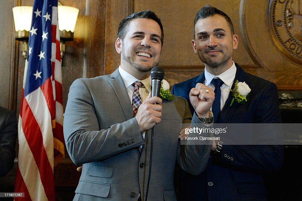 Same-sex couple Jeff Zarillo (L) and Paul Katami speak after they were married at Los Angeles City Hall by Los Angeles Mayor Antonio Villaraigosa June 28, 2013 in Los Angeles, California. The U.S. Ninth Circuit Court of Appeals lifted California's ban on same-sex marriages just three days after the Supreme Court ruled that supporters of the ban, Proposition 8, could not defend it before the high court. California Gov. Jerry Brown ordered all counties in the state to begin issuing licenses immediately.