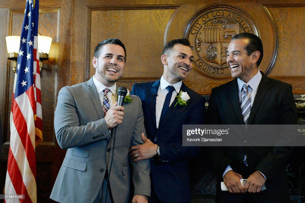 Same-sex couple Jeff Zarillo and Paul Katami speak after they were married at Los Angeles City Hall by Los Angeles Mayor <a gi-track='captionPersonalityLinkClicked' href=/galleries/search?phrase=Antonio+Villaraigosa&family=editorial&specificpeople=178925 ng-click='$event.stopPropagation()'>Antonio Villaraigosa</a> June 28, 2013 in Los Angeles, California. The U.S. Ninth Circuit Court of Appeals lifted California's ban on same-sex marriages just three days after the Supreme Court ruled that supporters of the ban, Proposition 8, could not defend it before the high court. California Gov. Jerry Brown ordered all counties in the state to begin issuing licenses immediately.