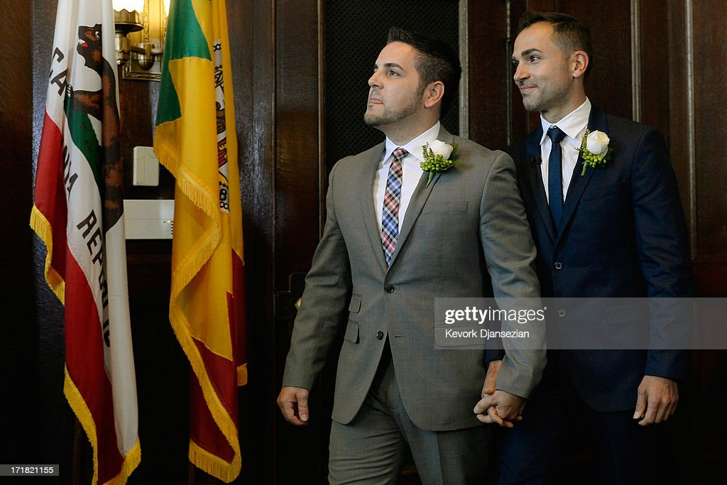 Same-sex couple Paul Katami (R) and Jeff Zarillo arrive to be married at Los Angeles City Hall by Los Angeles Mayor Antonio Villaraigosa on June 28, 2013 in Los Angeles, California. The U.S. Ninth Circuit Court of Appeals lifted California's ban on same-sex marriages just three days after the Supreme Court ruled that supporters of the ban, Proposition 8, could not defend it before the high court. California Gov. Jerry Brown ordered all counties in the state to begin issuing licenses immediately.