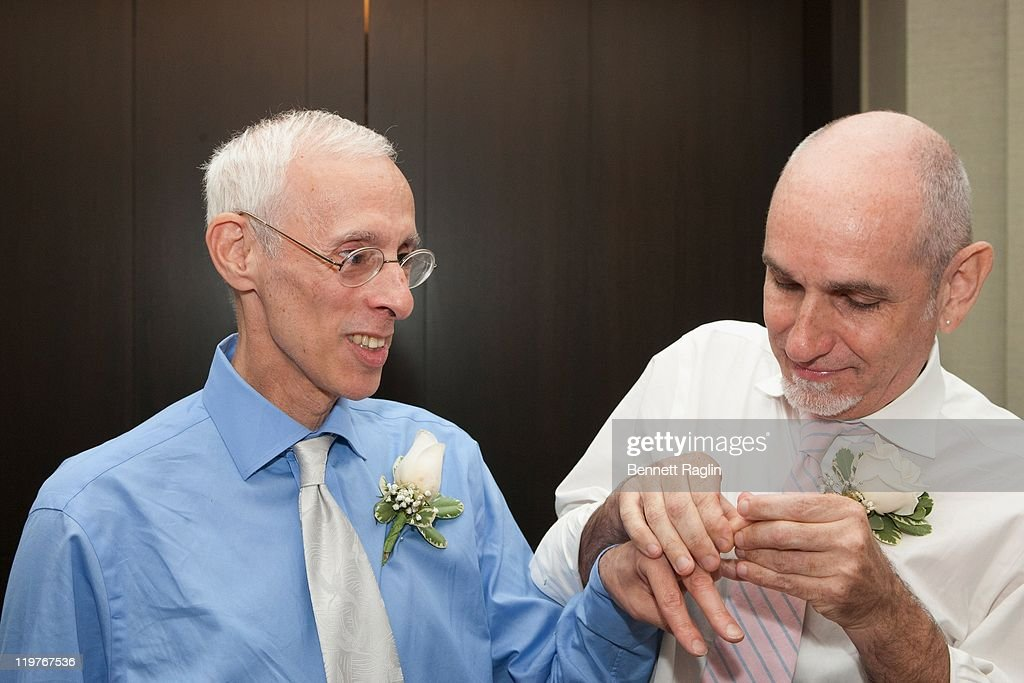 Same-sex couple Randy Faria and Michael Thomas-Faria wed during the first day of legal same-sex marriage in New York State on July 24, 2011 in New York City.