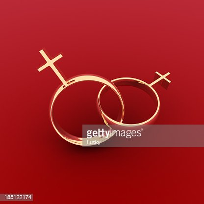 Same-sex (lesbian) marriage rings with red background
