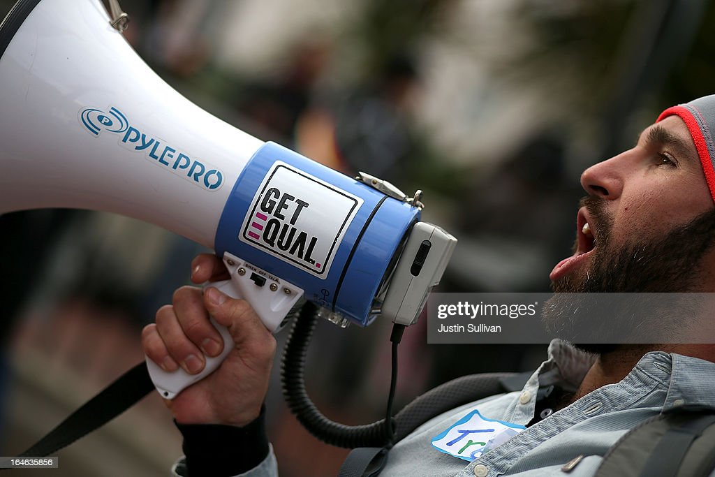 Same-sex marriage supporter Trey Allen uses a bullhorn during a rally in support of marriage equality on March 25, 2013 in San Francisco, California. Supporters of same-sex marriage held a rally and are set to march through San Francisco a day before the U.S. Supreme Court will hear arguments on California's Proposition 8, the controversial ballot initiative that defines marriage as between a man and a woman.