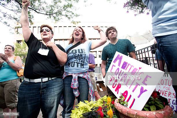 Samesex marriage supporters rejoice after the US Supreme Court hands down a ruling regarding samesex marriage on June 26th 2015 in Ann Arbor Michigan...