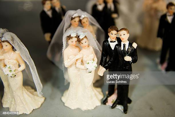 Samesex wedding cake toppers in Tati's historic first store under renovation on September 30 in Paris France Tati is a brand of discounted stores...
