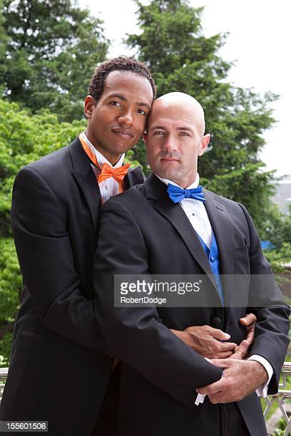 Two handsome men in a gay marriage proposal