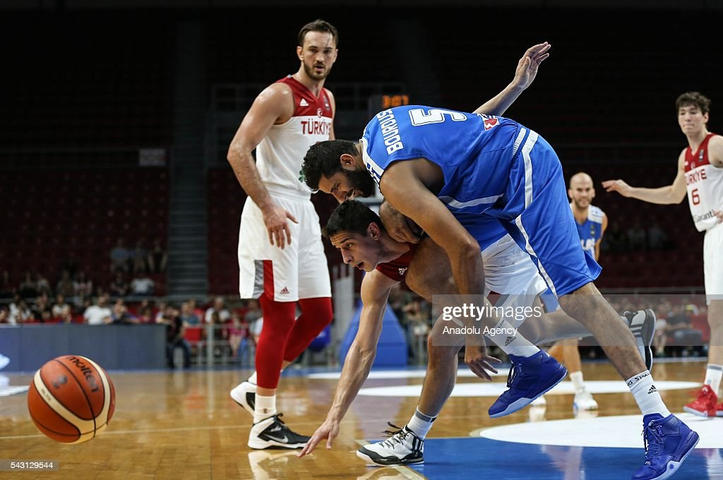 Samet Geyik (12) of Turkey in action against Giannis Bourousis (5) of Greece during the friendly match prior to 2016 Summer Olympics in Rio, Abdi Ipekci Sports Hall in Istanbul, Turkey on June 26, 2016.