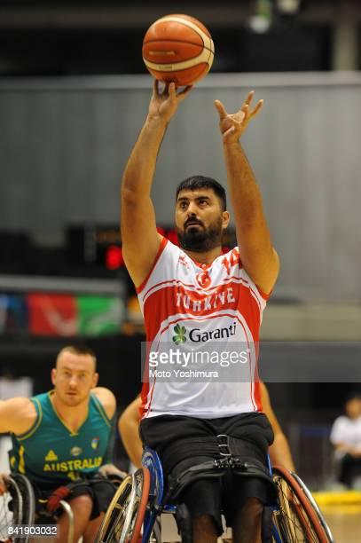 Samet Topta of Turkey shoots during the Wheelchair Basketball World Challenge Cup match between Turkey and Australia at the Tokyo Metropolitan...