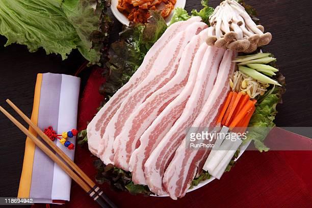 samgyeopsal material,korea food,pork belly