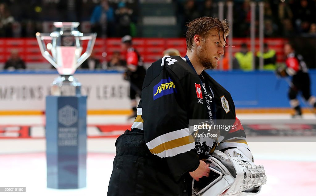 Sami Aittokallio, goaltender of Oulu looks dejected after the Champions Hockey League final game between Karpat Oulu and Frolunda Gothenburg at Oulun Energia-Areena on February 9, 2016 in Oulu, Finland.