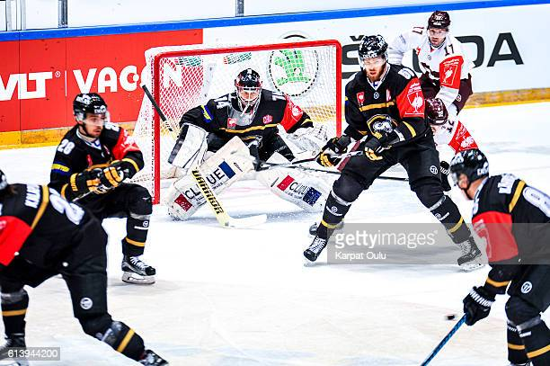 Sami Aittokallio of Karpat Oulu made 12 saves durig the first perior during the Champions Hockey League Round of 32 match between Karpat Oulu and...
