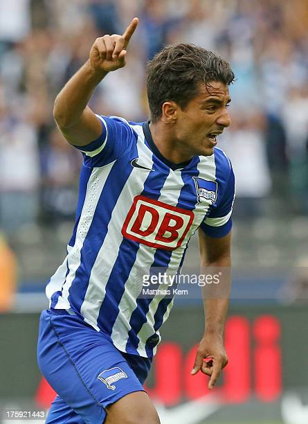 Sami Allagui of Berlin jubilates after scoring the fifth goal during the Bundesliga match between Hertha BSC Berlin and Eintracht Frankfurt at...