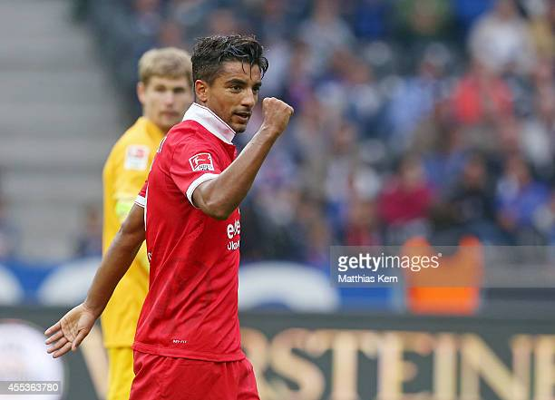 Sami Allagui of Mainz shows his delight after scoring the second goal during the Bundesliga match between Hertha BSC and 1FSV Mainz 05 at...