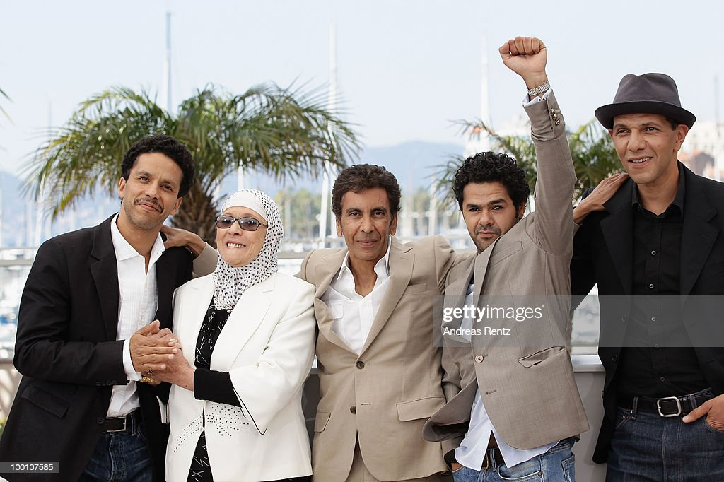 Sami Bouajila, Chafia Boudraa, Director Rachid Bouchareb, Jamel Debbouze and Roschdy Zem attend the 'Outside Of The Law' Photocall at the Palais des Festivals during the 63rd Annual Cannes Film Festival on May 21, 2010 in Cannes, France.