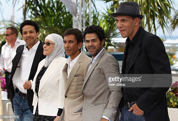 Sami Bouajila Chafia Boudraa Director Rachid Bouchareb Jamel Debbouze and Roschdy Zem attend the 'Outside Of The Law' Photocall at the Palais des...