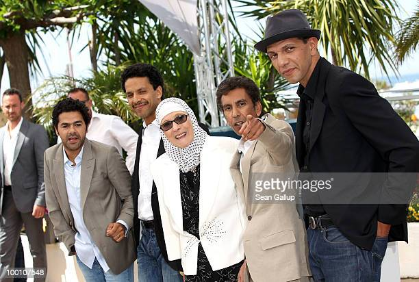 Sami Bouajila Director Rachid Bouchareb Chafia Boudraa Jamel Debbouze and Roschdy Zem attend the 'Outside Of The Law' Photocall at the Palais des...