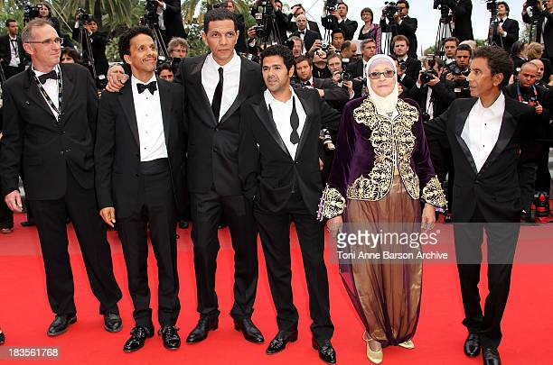 Sami Bouajila Roschdy Zem Jamel Debbouze Chafia Boudraa and Rachid Bouchareb attend the 'Outside the Law' Premiere at the Palais des Festivals during...