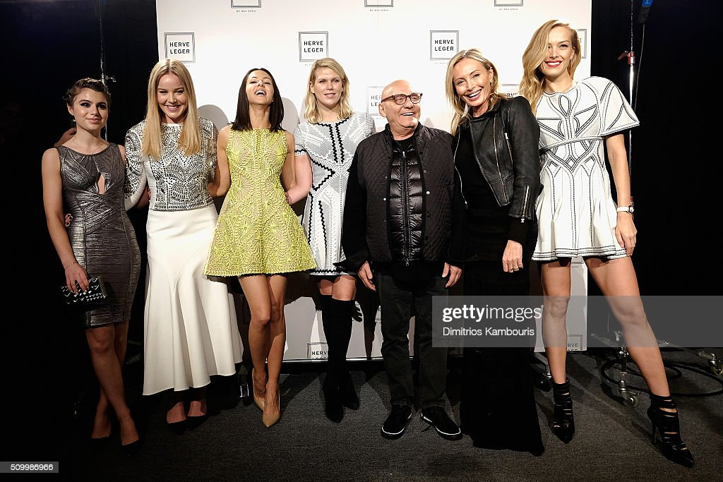 <a gi-track='captionPersonalityLinkClicked' href=/galleries/search?phrase=Sami+Gayle&family=editorial&specificpeople=5053940 ng-click='$event.stopPropagation()'>Sami Gayle</a>, <a gi-track='captionPersonalityLinkClicked' href=/galleries/search?phrase=Abbie+Cornish&family=editorial&specificpeople=213603 ng-click='$event.stopPropagation()'>Abbie Cornish</a>, Annet Mahendr,u Alexandra Richard,s Max Azria, Lubov Azri and; Petra Nemvoca pose backstage at the Herve Leger By Max Azria Fall 2016 fashion show during New York Fashion Week: The Shows at The Arc, Skylight at Moynihan Station on February 13, 2016 in New York City.