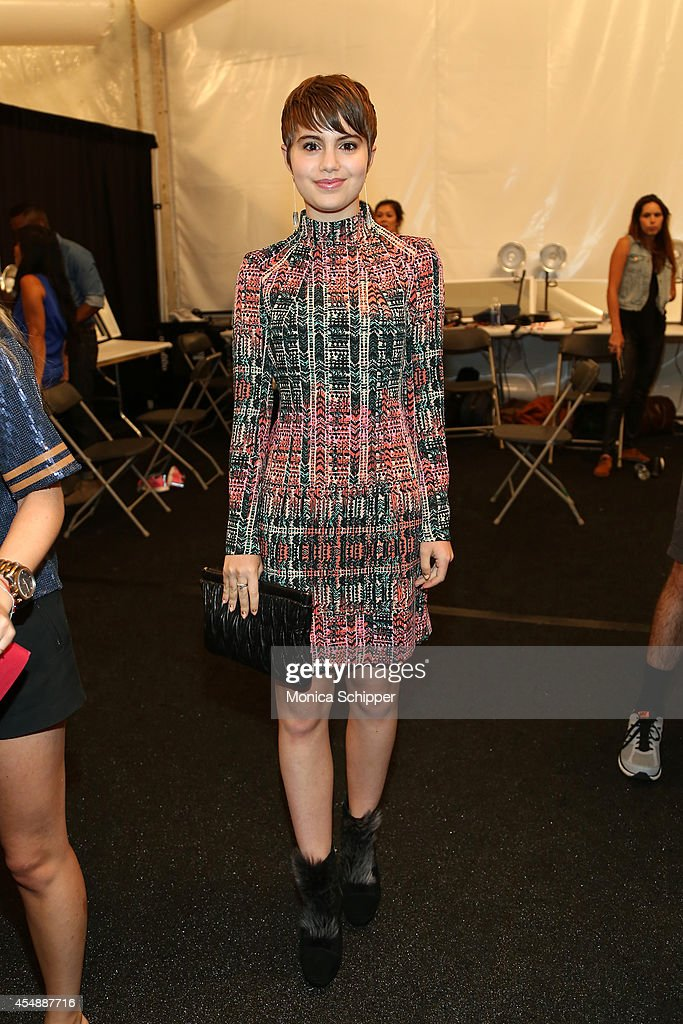 Sami Gayle poses backstage at the Nanette Lepore fashion show during MercedesBenz Fashion Week Spring 2015 at The Salon at Lincoln Center on...