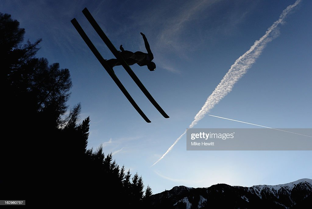 Sami Heiskanen of Finland in action during the Men's Ski Jumping Team HS134 at the FIS Nordic World Ski Championships on March 2, 2013 in Val di Fiemme, Italy.