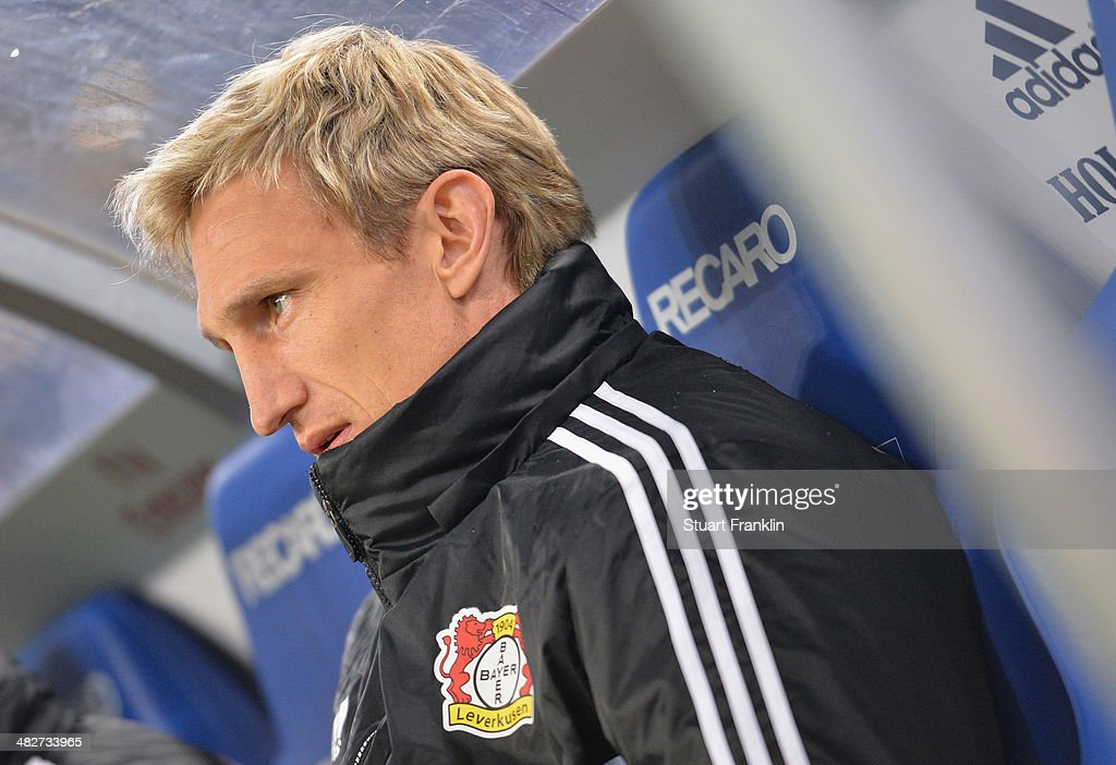 Sami Hyypia head coach of Leverkusen looks on during the Bundesliga match between Hamburger SV and Bayer Leverkusen at Imtech Arena on April 4 2014...