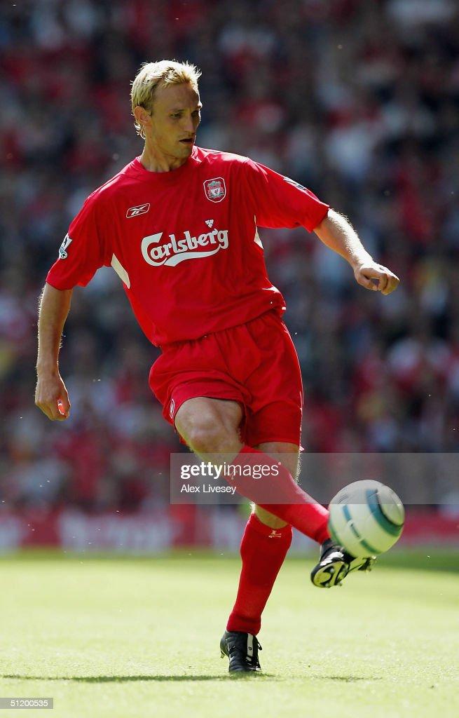 Sami Hyypia of Liverpool is seen in action during the Barclays Premiership match between Liverpool and Manchester City at Anfield on August 21 2004...