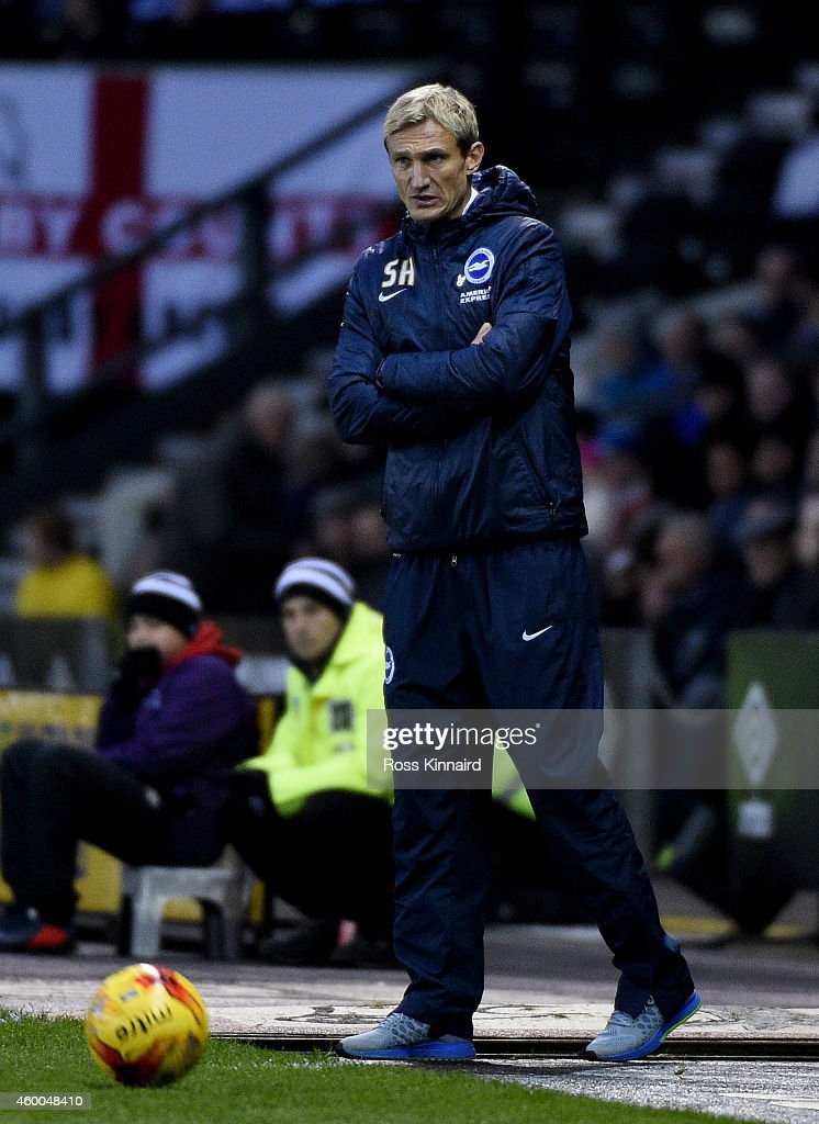 Sami Hyypia the Brighton manager during the Sky Bet Championship match between Derby County and Brighton Hove Albion at the Pride Park Stadium on...