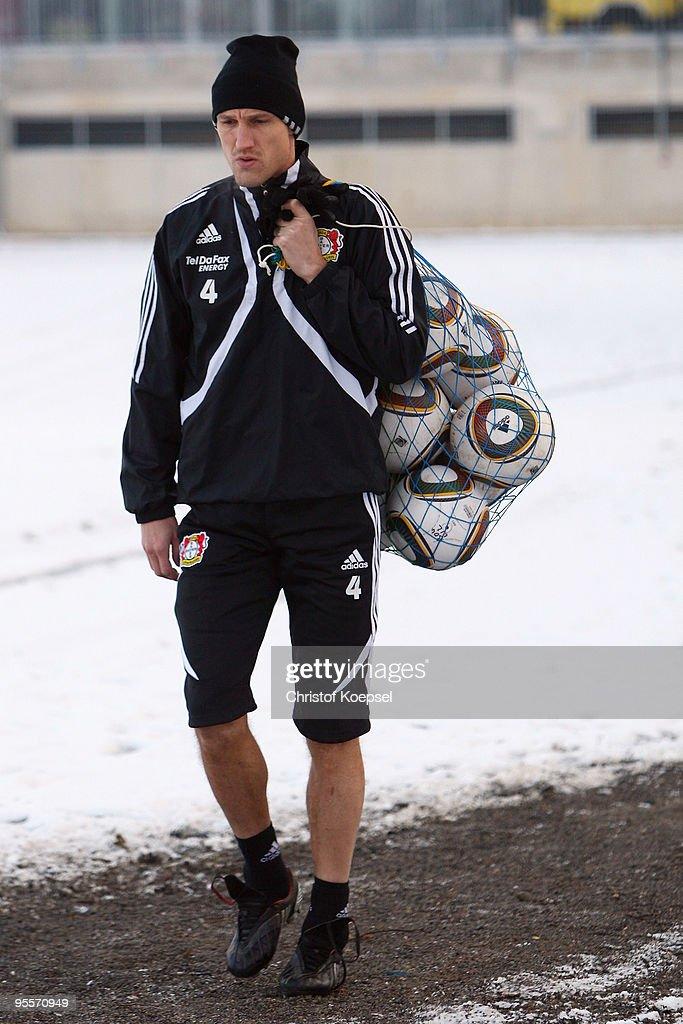 Sami Hyypiae of Bayer Leverkusen walks to the training session of Bayer Leverkusen at the training ground on January 4 2010 in Leverkusen Germany