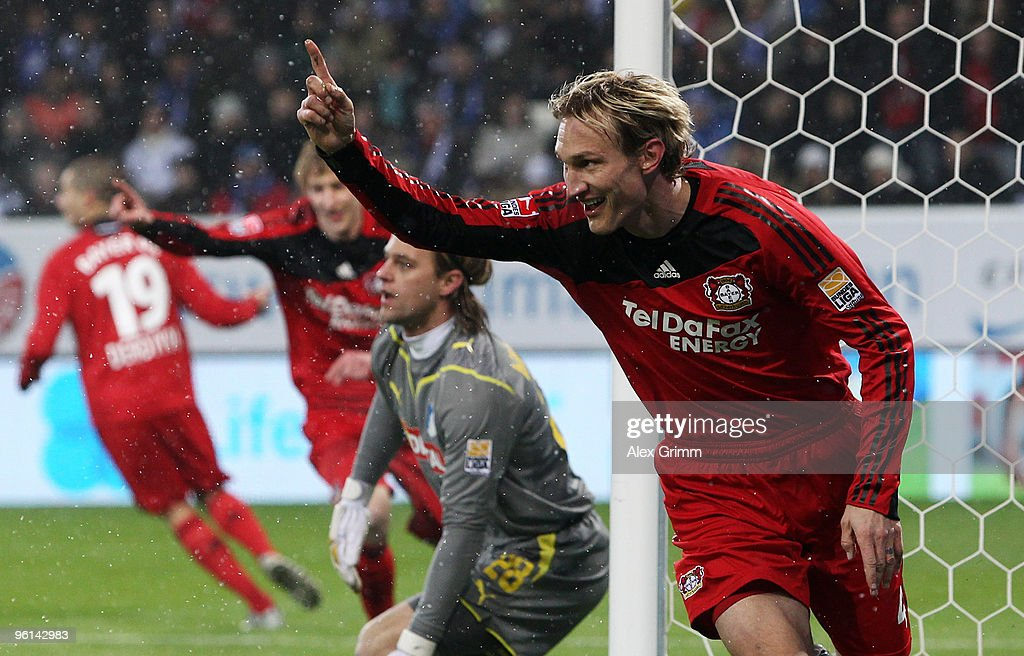 Sami Hyypiae (front) of Leverkusen celebrates his team's first goal during the Bundesliga match between 1899 Hoffenheim and Bayer Leverkusen at the Rhein-Neckar Arena on January 24, 2010 in Sinsheim, Germany.