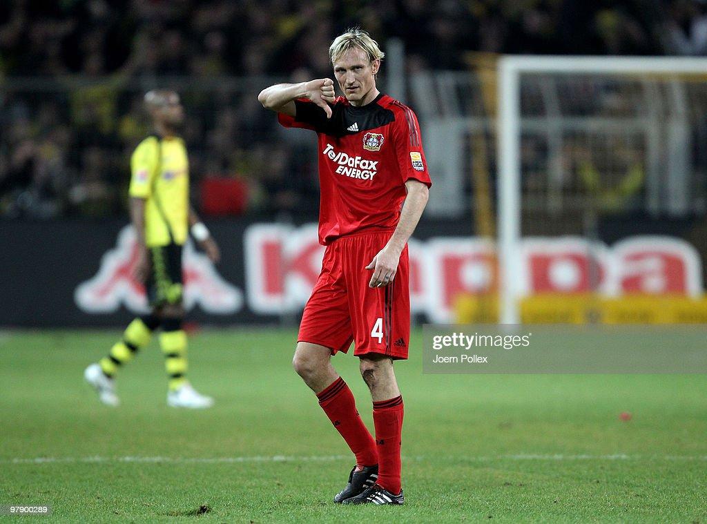 Sami Hyypiae of Leverkusen gestures after the Bundesliga match between Borussia Dortmund and Bayer Leverkusen at Signal Iduna Park on March 20 2010...