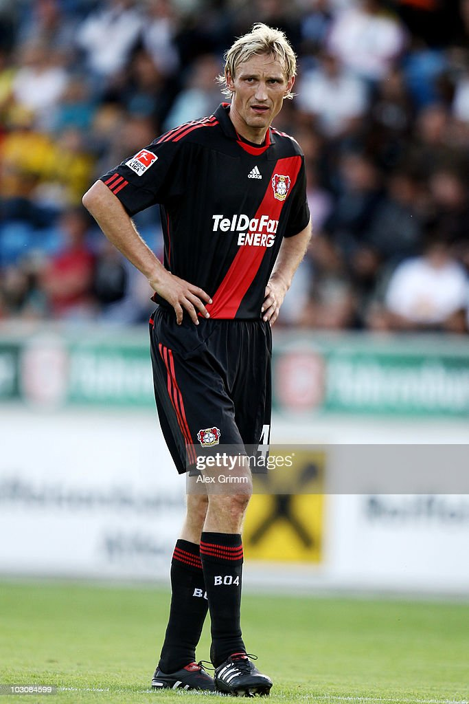 Sami Hyypiae of Leverkusen reacts during the preseason friendly match between SCR Altach and Bayer 04 Leverkusen on July 25 2010 in Altach Austria