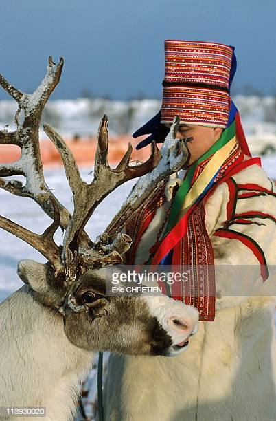 Sami In Traditional Winter Dress Kautokeino Lapland Norway In 1999It takes six reindeer skins to make the jacket He proudly wears his savhka the...